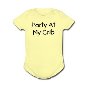 Party at my Crib Pink Short Sleeved One size - Short Sleeve Baby Bodysuit