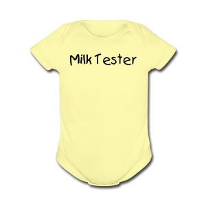 Milk Tester Pink Short Sleeved One size - Short Sleeve Baby Bodysuit
