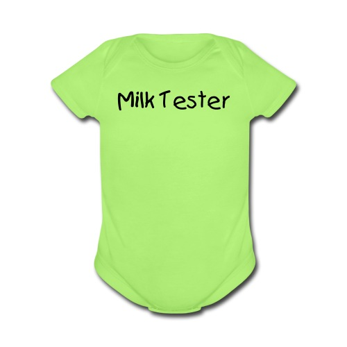 Milk Tester Green Short Sleeved One size - Organic Short Sleeve Baby Bodysuit