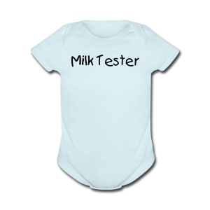 Milk Tester Blue Short Sleeved One size - Short Sleeve Baby Bodysuit