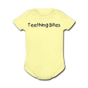 Teething Bites Pink Short Sleeved One size - Short Sleeve Baby Bodysuit
