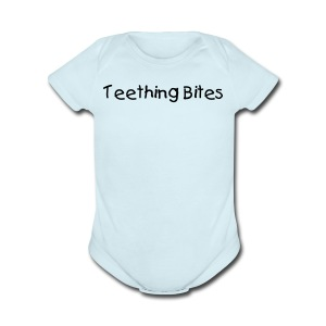 Teething Bites Blue Short Sleeved One size - Short Sleeve Baby Bodysuit