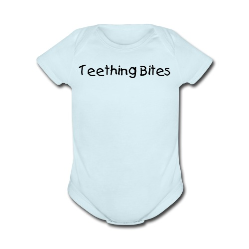 Teething Bites Blue Short Sleeved One size - Organic Short Sleeve Baby Bodysuit