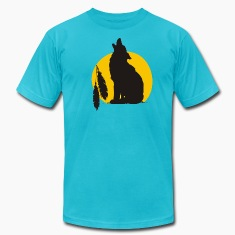 Turquoise Howling wolve T-Shirts (Short sleeve)