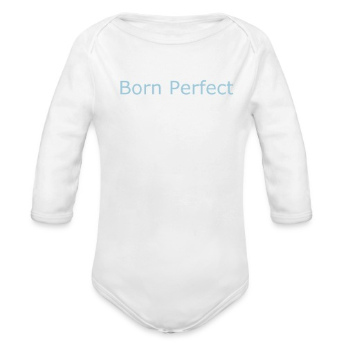 Born Perfect Onsie/Blue - Organic Long Sleeve Baby Bodysuit