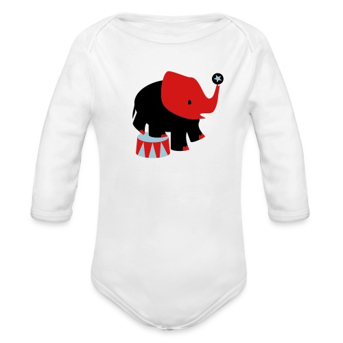 Kool Kids Tees 'Circus Elephant, Ball' Baby LS One size in White - Organic Long Sleeve Baby Bodysuit