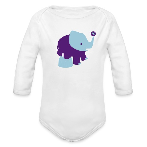 Kool Kids Tees 'Circus Elephant, Ball' Baby LS One size in Pink - Organic Long Sleeve Baby Bodysuit