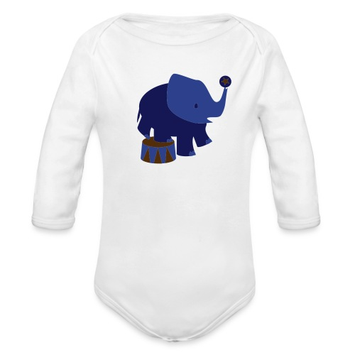 Kool Kids Tees 'Circus Elephant, Ball' Baby LS One size in Sky - Organic Long Sleeve Baby Bodysuit