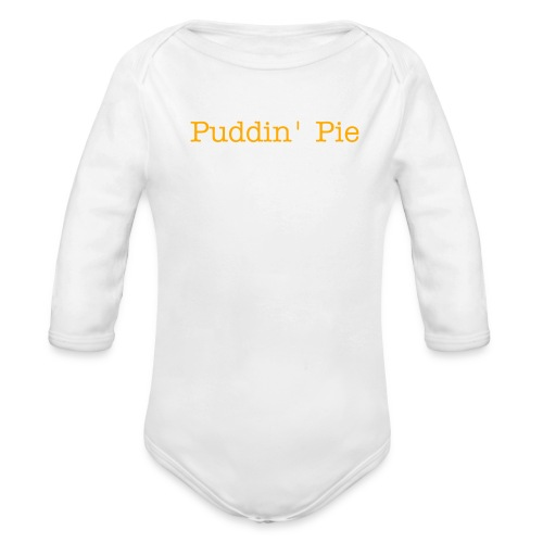 White Onsie, Puddin' Pie, Orange - Organic Long Sleeve Baby Bodysuit