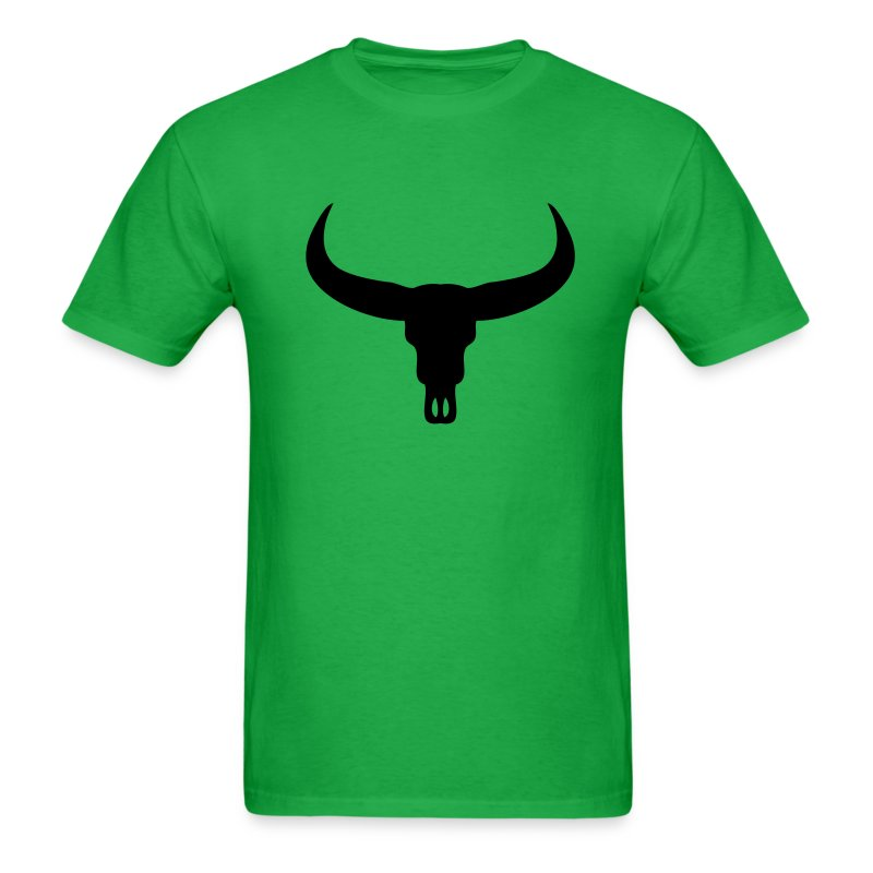 Bright green bull skull t shirts men s t shirt