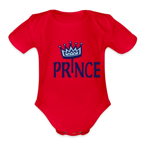 Kool Kids Tees 'Prince With Crown' Baby One size in Sky - Organic Short Sleeve Baby Bodysuit