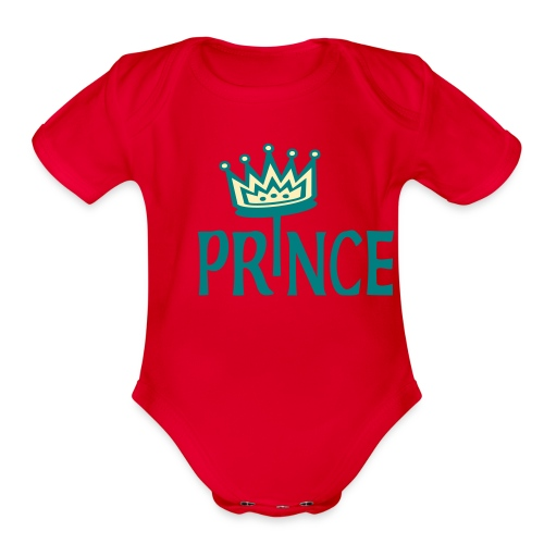 Kool Kids Tees 'Prince With Crown' Baby One size in Mint Green - Organic Short Sleeve Baby Bodysuit