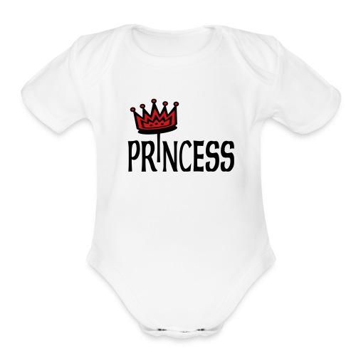 Kool Kids Tees 'Princess With Crown' Baby One size in White - Organic Short Sleeve Baby Bodysuit