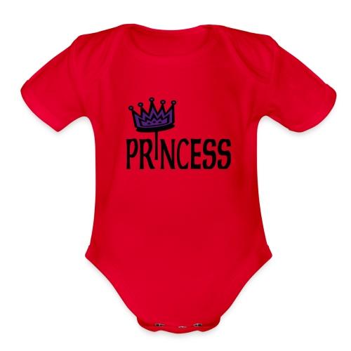 Kool Kids Tees 'Princess With Crown' Baby One size in Lt. Pink - Organic Short Sleeve Baby Bodysuit