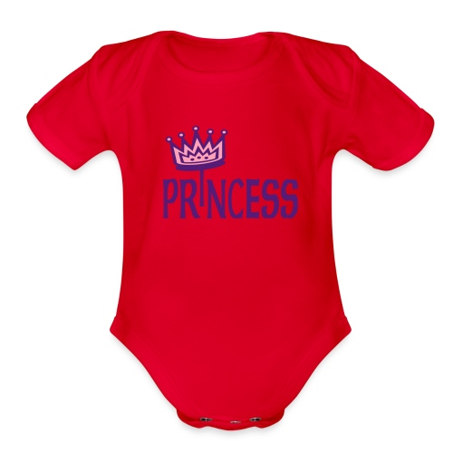 Kool Kids Tees 'Princess With Crown' Baby One size in Fushcia - Organic Short Sleeve Baby Bodysuit