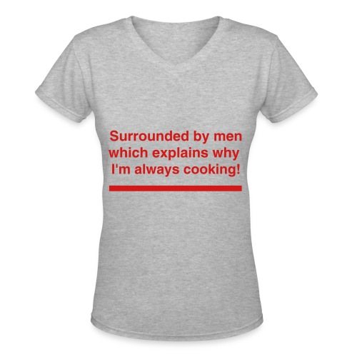 surrounded by men - Women's V-Neck T-Shirt