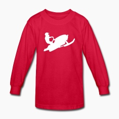 Red snowmobiling Kids Shirts