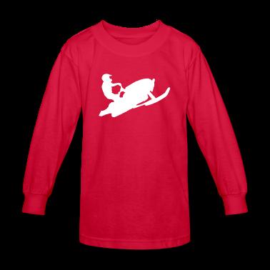 Red snowmobiling Kids Shirts