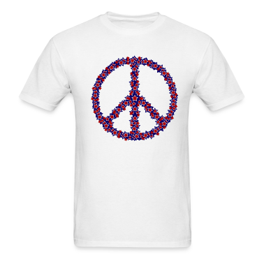 White Patriotic Peace Sign T-Shirts