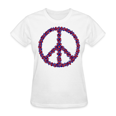 White Patriotic Peace Sign Women's T-shirts