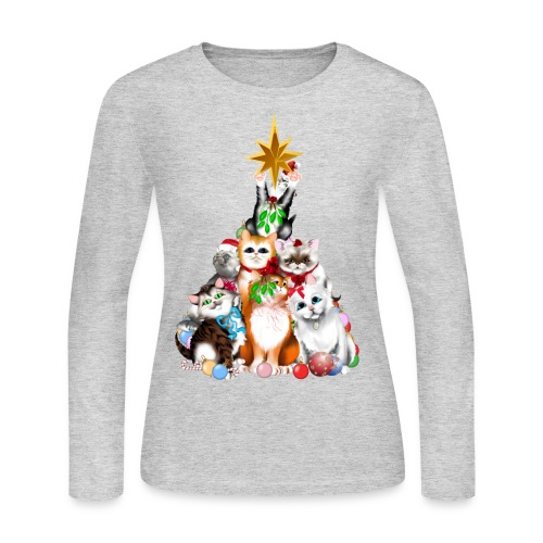 christmas tree kittens - Women's Long Sleeve Jersey T-Shirt
