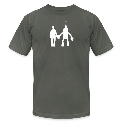 Gray and White - Men's Fine Jersey T-Shirt