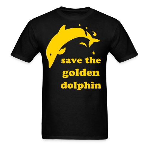 Save the Golden Dolphin (Gold on Black) - Men's T-Shirt