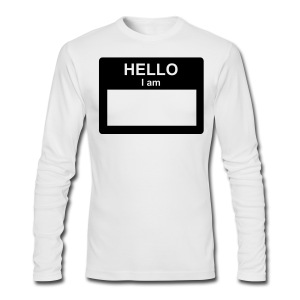 Men's Long Sleeve T-Shirt by Next Level - Your can write in black space on name tag.  Comes with washable marker!!
