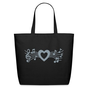 Musical Heart Large Tote (Metallic Silver) - Eco-Friendly Cotton Tote
