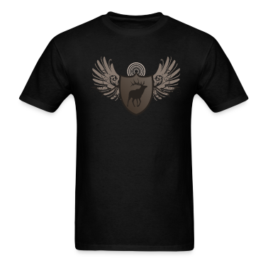 Black deer hunting crest and wings design T-Shirts