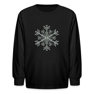 Black 2 Color Winter Snowflake Kids Shirts