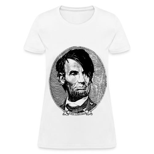 Emo Lincoln (Girl's White) - Women's T-Shirt