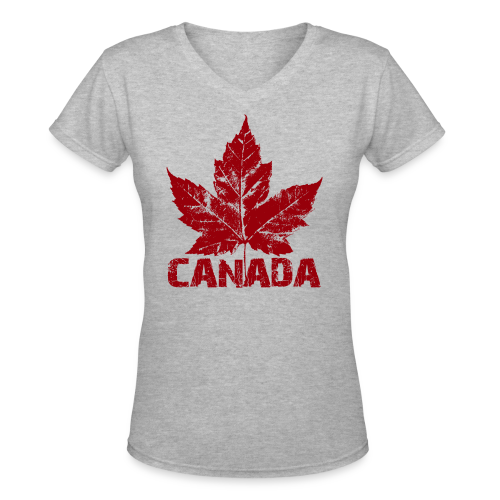 Cool Canada Women's Shirt  Maple Leaf V-Neck T-shirt - Women's V-Neck T-Shirt