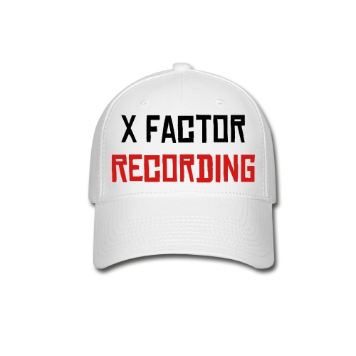 X Factor Hat --White-- Black/Red Lettering - Baseball Cap