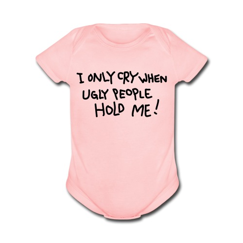 Ugly People (Pink) - Organic Short Sleeve Baby Bodysuit