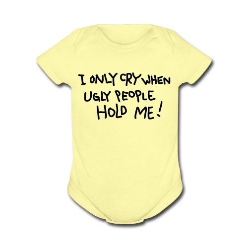 Ugly People (Yellow) - Organic Short Sleeve Baby Bodysuit