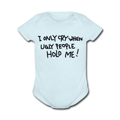 Ugly People (Blue) - Organic Short Sleeve Baby Bodysuit