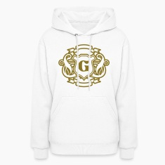White Add your Initial Golden Design Hooded Sweatshirts
