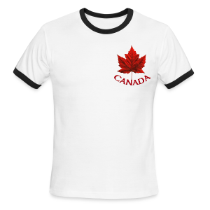 Men's Canada T- Shirt Souvenir Red Maple Leaf  Ringer T-shirts - Men's Ringer T-Shirt