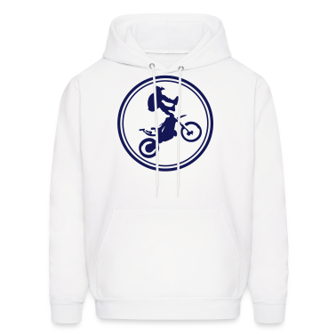 White Dirt bike graphic 2 color flex print Hoodies