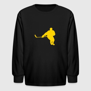 Black hockey player Kids Shirts - Kids' Long Sleeve T-Shirt