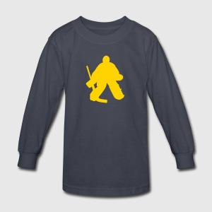 Navy hockey goalie Kids Shirts - Kids' Long Sleeve T-Shirt
