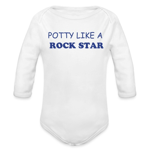 POTTY LIKE A ROCK STAR LONGSLEEVE ONE SIZE - Organic Long Sleeve Baby Bodysuit