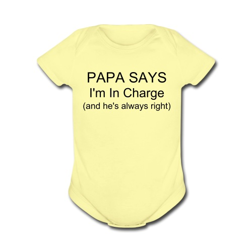 I'm In Charge - Organic Short Sleeve Baby Bodysuit