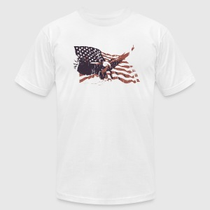 White Vintage American Flag bald eagle T-Shirts - Men's T-Shirt by American Apparel
