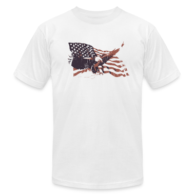 White Vintage American Flag bald eagle T-Shirts
