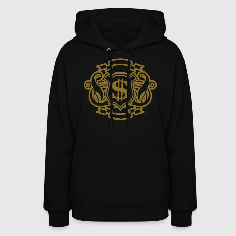 Black Reflective Gold and Silver Money Graphic Hooded Sweatshirts - Women's Hoodie