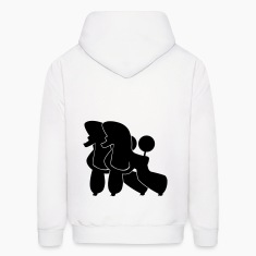 White Two Poodle  Hoodies