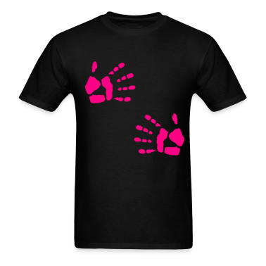 Black Double Hand Print Hug Handprint T-Shirts