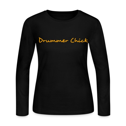 Drummer Chick Brown Long-Sleeved Ladies T - Women's Long Sleeve Jersey T-Shirt